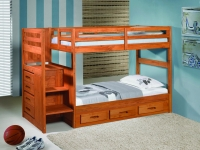 Twin Stairstep Bunkbed With Drawers In Cinnamon Finish 1012