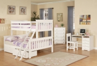 Twin Over Full Mission Bunkbed  White Finish 122-3W