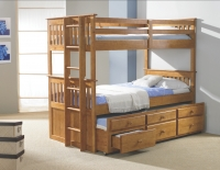 Twin Mission Captains Trundle Bunkbed  Honey Finish 133H