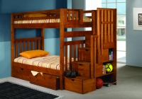 200H- Twin/Twin Tall Mission Stairway Bunkbed  Honey Finish