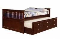 303  Mission Captains Trundle Bed  Cappuccino Finish