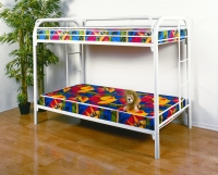 4501-3WH- Twin/ Twin Metal Bunkbed  Gloss White Finish