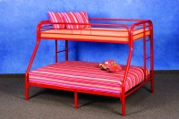 4502-3RD- Twin/ Full Metal Bunkbed  Gloss Red Finish