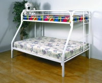 4502-3WH- Twin/ Full Metal Bunkbed  Gloss White Finish