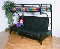 4509-3BK- C-Shape Futon Metal Bunkbed  Gloss Black Finish
