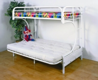 4509-3WH- C-Shape Futon Metal Bunkbed  Gloss White Finish