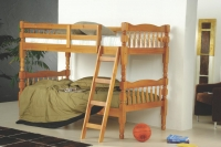 720-2H- Twin/Twin Turned Post Bunkbed  Honey Finish