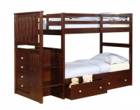 820CP- Twin/Twin Mission Stairway Bunkbed  Cappuccino Finish