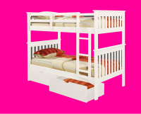Twin Mission Bunkbed  White 120-3W