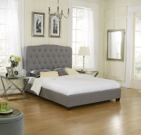 Boyd Alexandra Grey Tufted Linen Platform Upholstered Bed