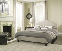 Boyd Corine Contemporary Beige Textured Linen Platform Bed