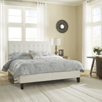 Boyd Hannah White Tufted Simulated Leather Platform Bed