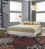 Boyd Suburban White Simulated Leather Platform Deck Bed
