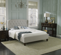 Boyd Victoria Upholstered Traditional Winged Tufted  Linen Bed