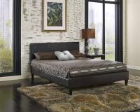 Cosmopolitan Brown Saddle-Stitched Leather Platform Bed