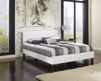 Cosmopolitan White Saddle-Stitched Leather Platform Bed