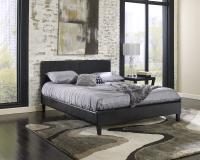 Cosmopolitan Black Saddle-Stitched Leather Platform Bed