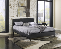 Cosmopolitan Black Saddle-Stitched Leather Platform Bed